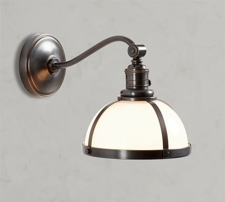 PB Classic Industrial Curved Arm Sconce - Milk Glass