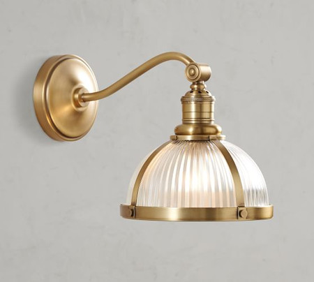 PB Classic Industrial Curved Arm Sconce - Ribbed Glass