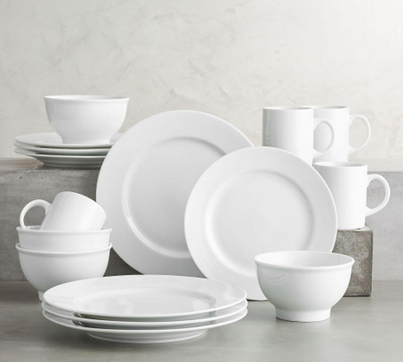 PB Classic Rim Dinnerware 16 Piece Set with Individual Bowl