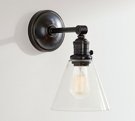 PB Classic Straight Arm Sconce - Flared Glass