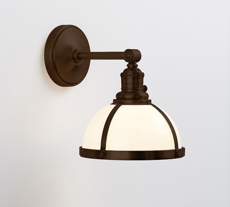 PB Classic Industrial Straight Arm Sconce - Milk Glass
