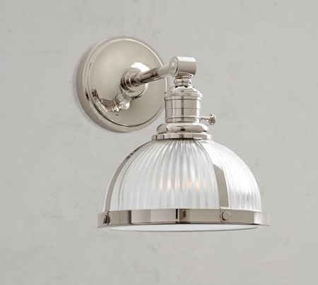 PB Classic Industrial Straight Arm Sconce - Ribbed Glass
