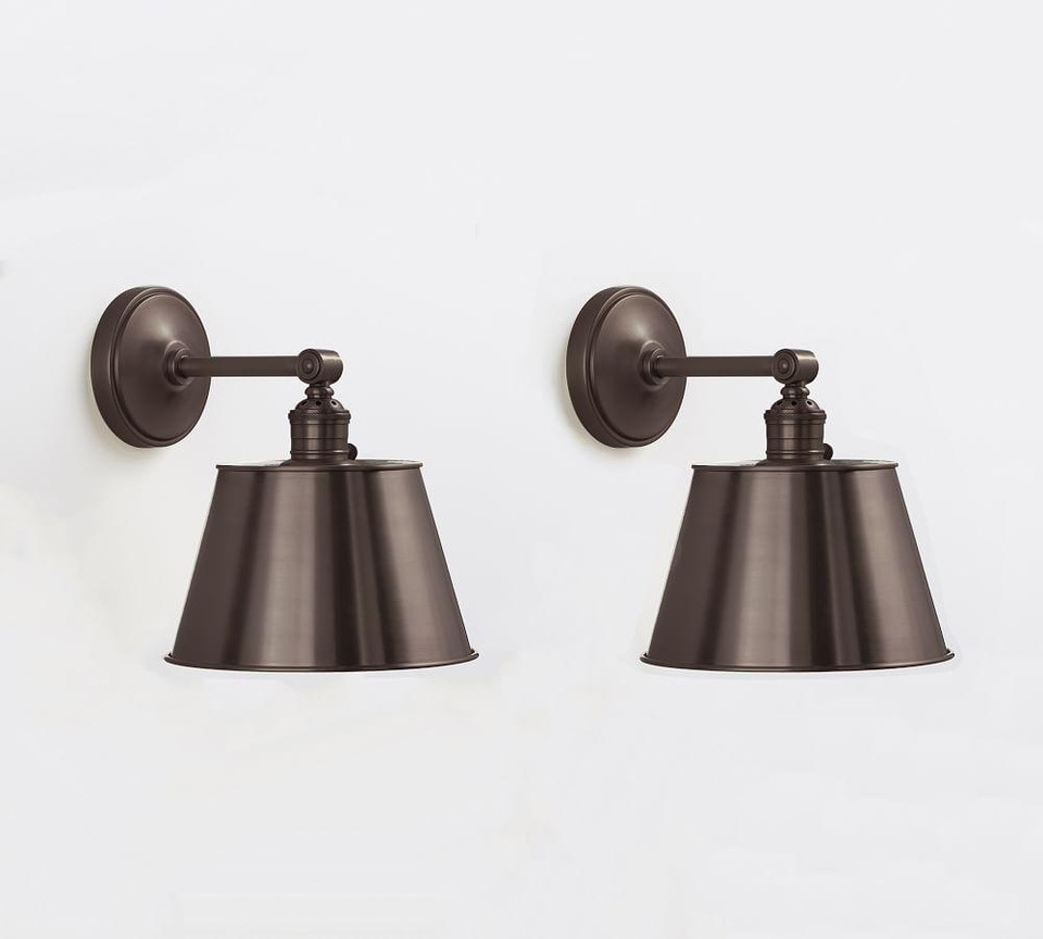 PB Classic Straight Arm Sconce - Tapered Metal Shade