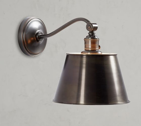 PB Classic Curved Arm Sconce - Tapered Metal Shade