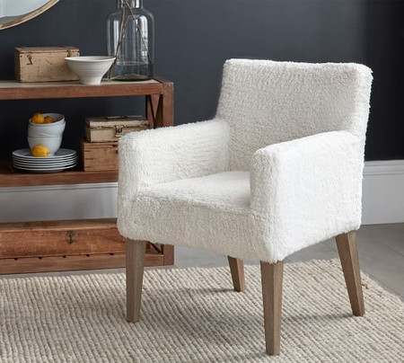 PB Classic Sherpa Slipcovered Dining Armchair
