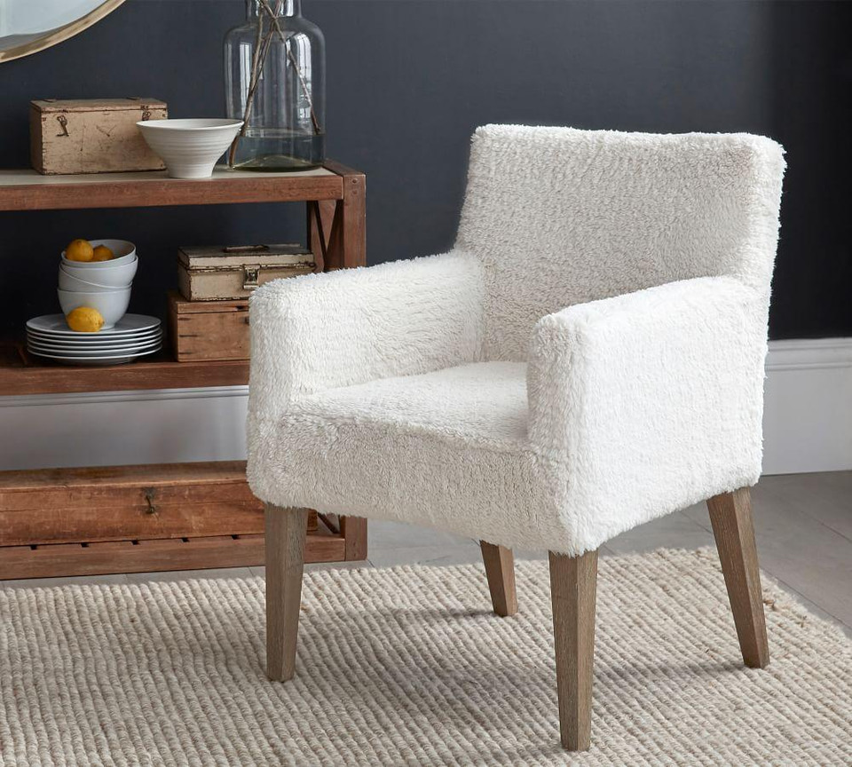 Pb Classic Sherpa Slipcovered Dining Armchair Pottery