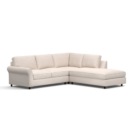 PB Comfort Roll Arm Upholstered 3-Piece Bumper Sectional with Corner