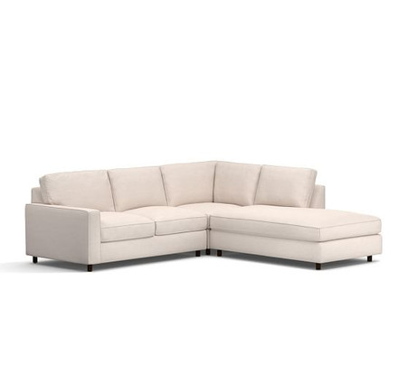PB Comfort Square Arm Upholstered 3-Piece Bumper Sectional with Corner