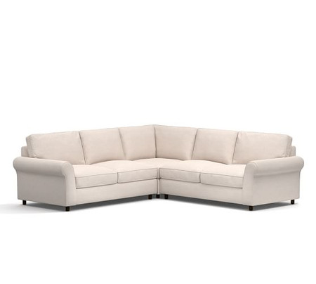 PB Comfort Roll Arm Upholstered 3-Piece L-Shaped Sectional with Corner