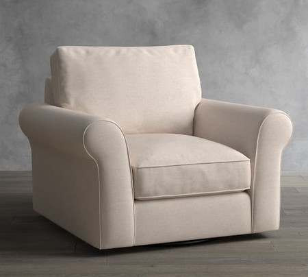 PB Comfort Roll Arm Upholstered Swivel Armchair