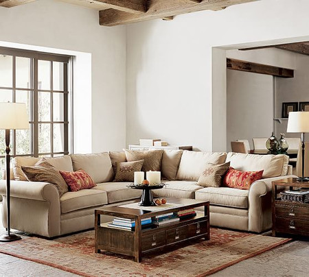 Pearce Roll Arm Upholstered 2-Piece L-Shape Sectional