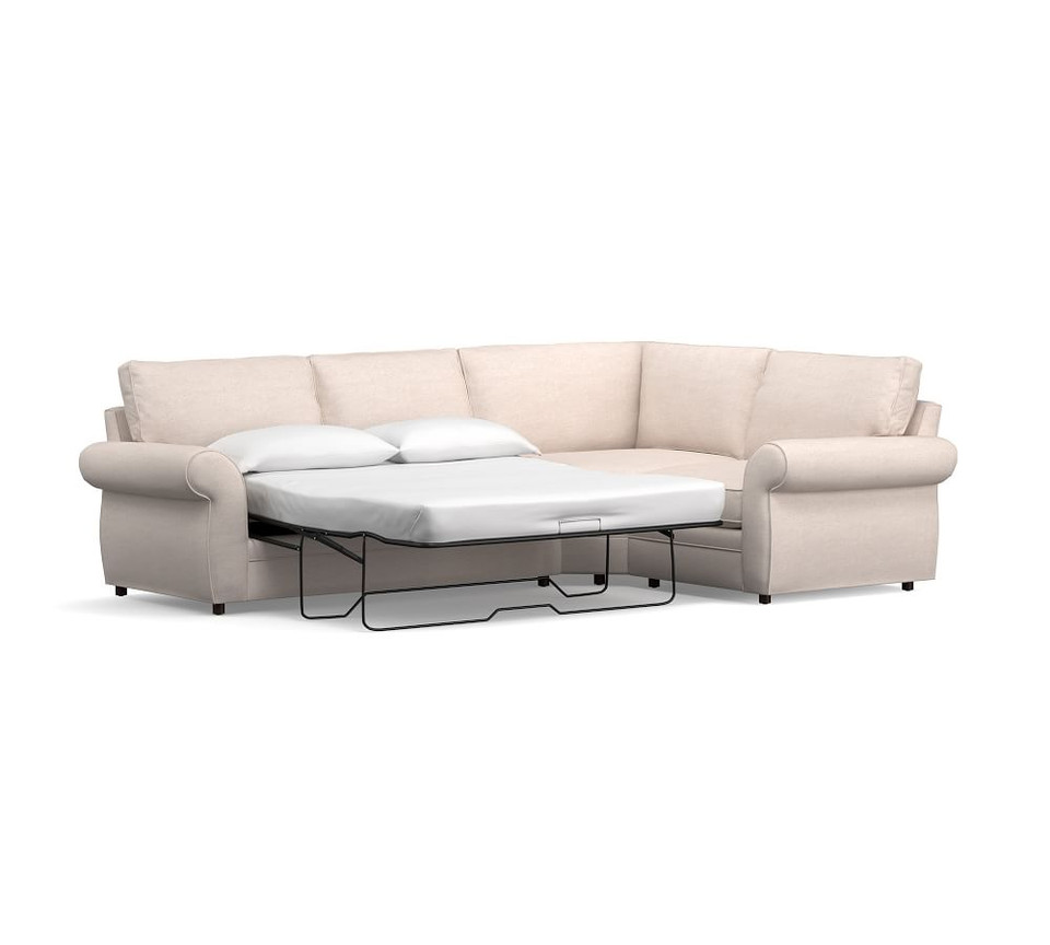 Pearce Roll Arm Upholstered 3-Piece Wedge Sleeper Sectional