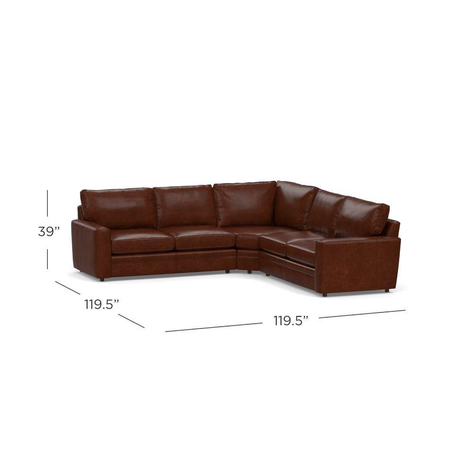 Pearce Square Arm Leather 3-Piece L-Shaped Sectional with Wedge
