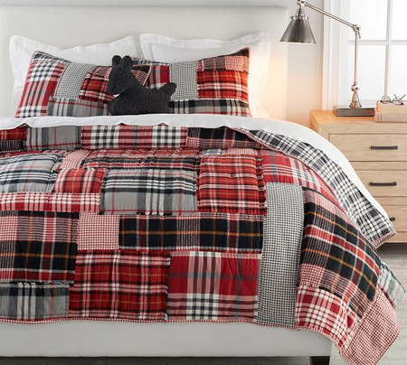 Pearson Plaid Patchwork Cotton Quilt & Shams