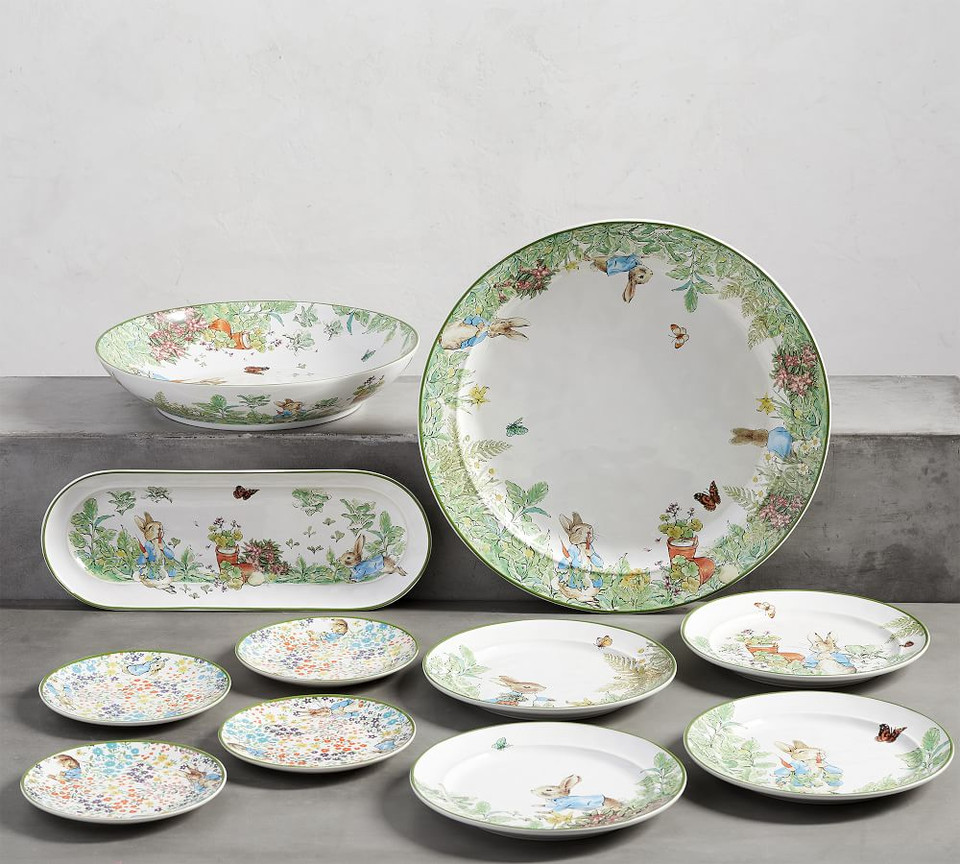 Peter Rabbit Floral Appetizer Plates Set Of 4 Pottery