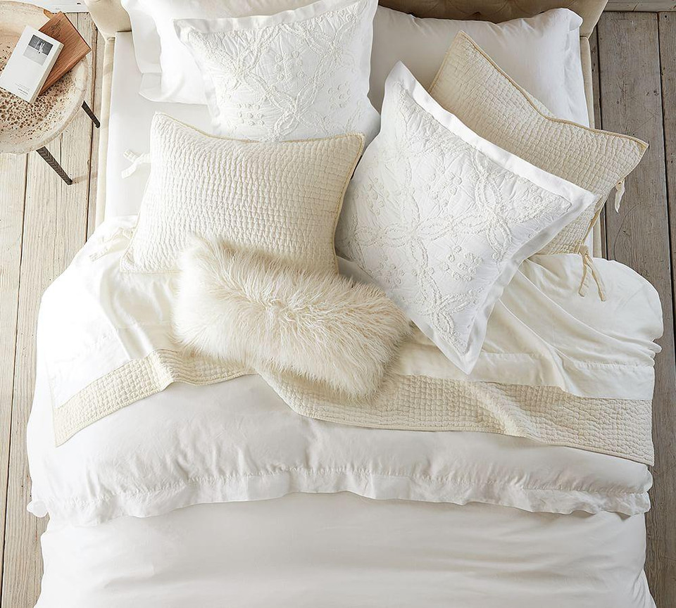 Pick-Stitch Handcrafted Cotton Linen Blend Quilt & Shams - White