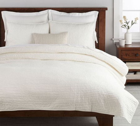 Pick-Stitch Handcrafted Cotton Linen Blend Quilt & Shams - Classic Ivory