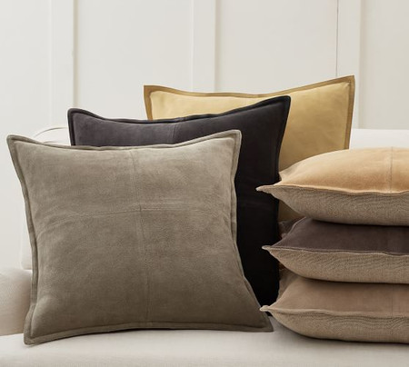 Pieced Suede Pillow Covers