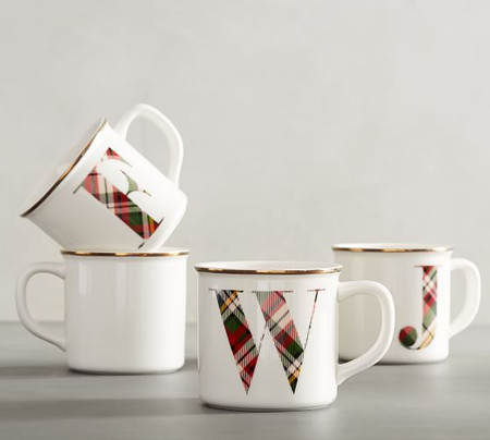 Plaid Alphabet Stoneware Mug