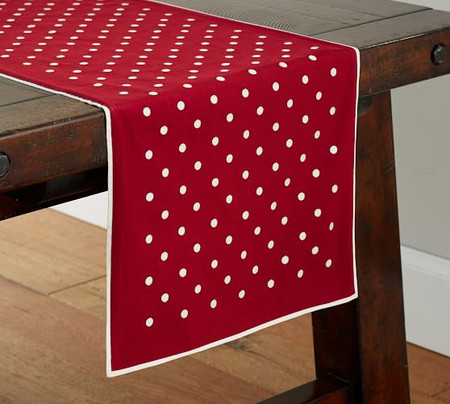 Polka Dot Embroidered Cotton Table Runner