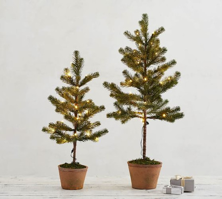 Pre-Lit Faux Potted Pine Trees