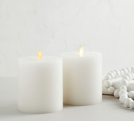 Premium Flickering Flameless Wax Pillar Candles - Set of 2