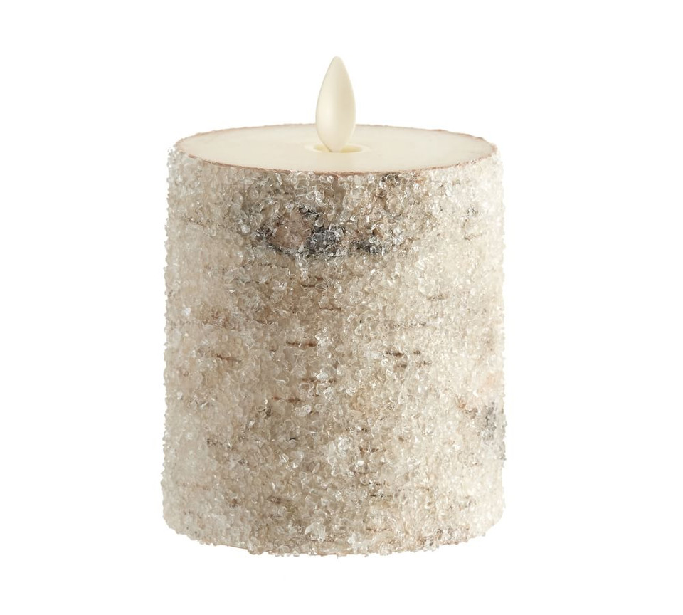 Premium Flickering Flameless Sugared Birch Pillar Candles