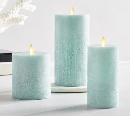 Premium Flicker Flameless Wax Candles Sea Glass