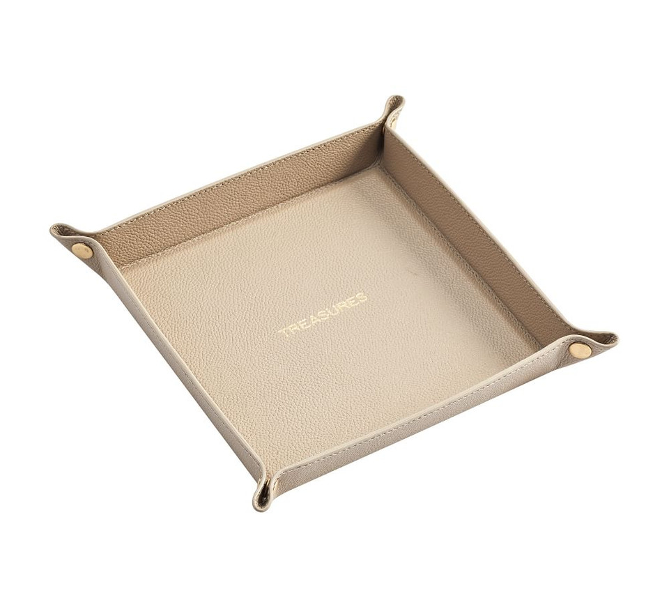 Quinn Leather Catchall Trey Foil Debossed Pottery Barn