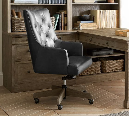 Radcliffe Tufted Leather Swivel Desk Chair