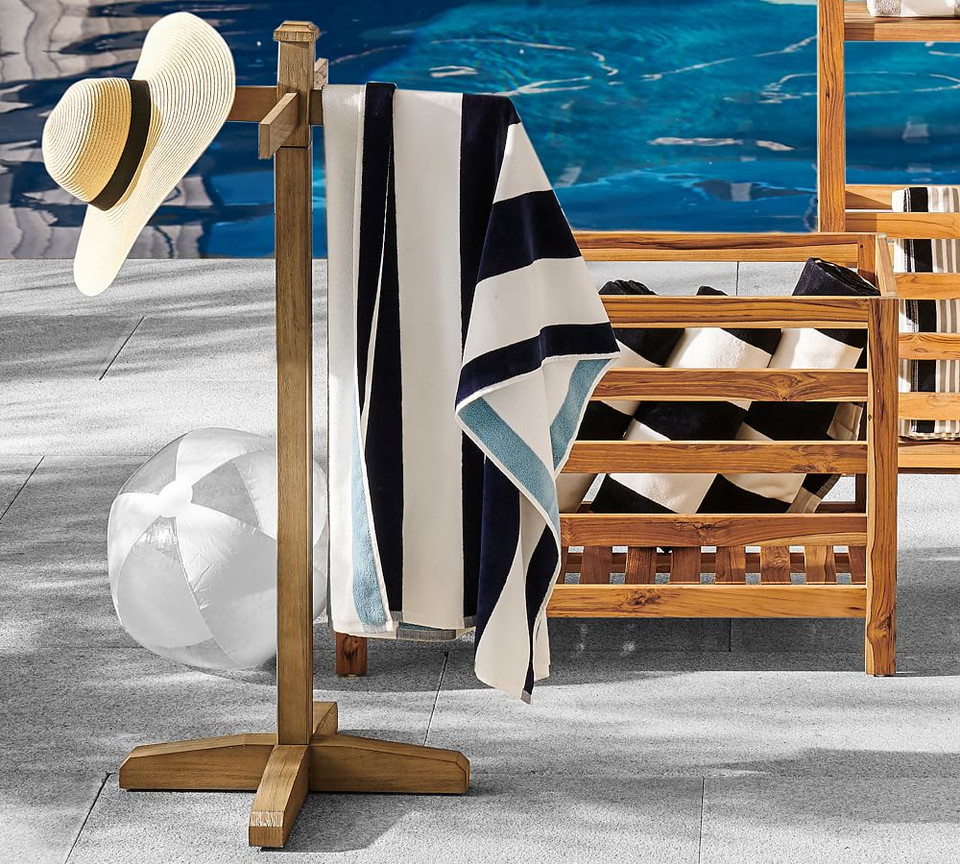 Reversible Awning Stripe Organic Beach & Pool Towels - Grey/Blue
