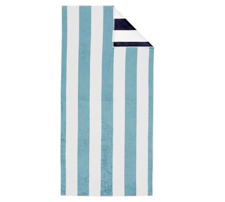 Reversible Awning Stripe Organic Beach & Pool Towels - Navy/Seabreeze
