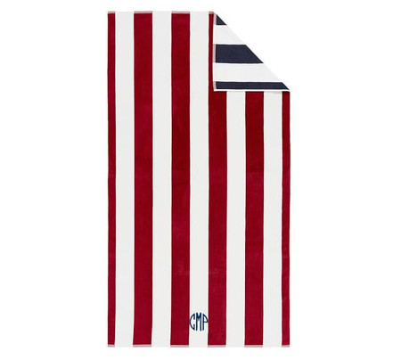 Reversible Awning Stripe Organic Beach & Pool Towels - Red/Navy