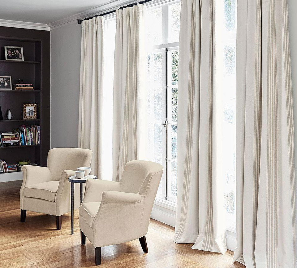 Riviera Stripe Blackout Curtain - Charcoal