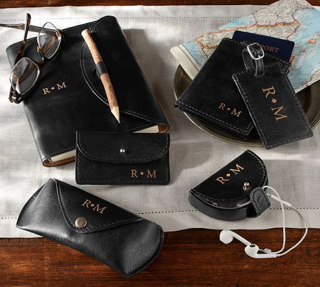 Personalized Saddle Leather Travel Accessories Collection - Black