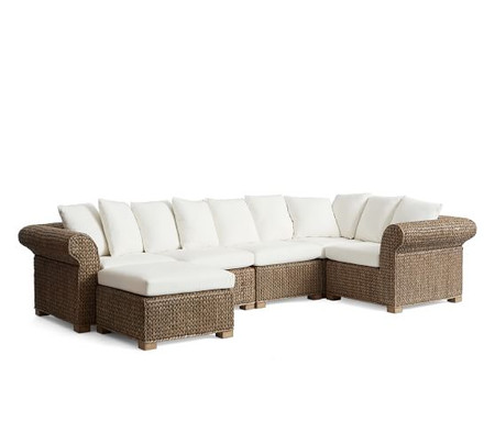 Seagrass 5-Piece Sectional with Ottoman