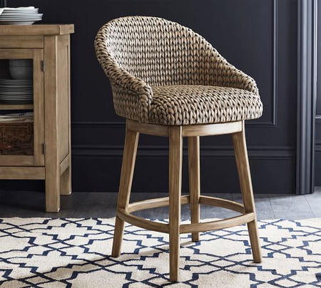 Seagrass Bucket Swivel Counter Stool