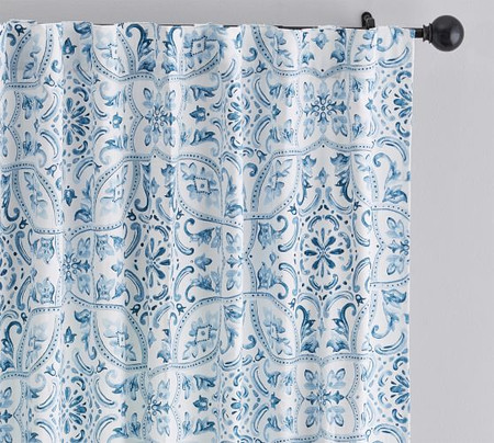 Selby Tile Curtain, Set of 2 - Blue
