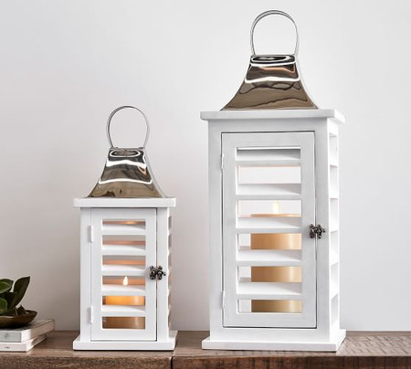Shutter Mango Wood Lanterns - White