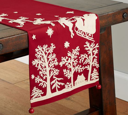 Sleigh Bell Crewel Embroidered Cotton Table Runner