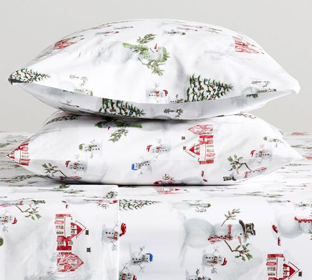 Snowman Organic Percale Pillowcases - Set of 2