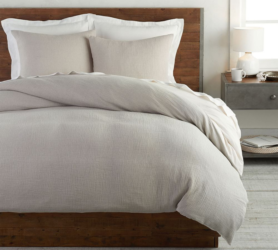 Soft Cotton Duvet Cover & Shams - Grey