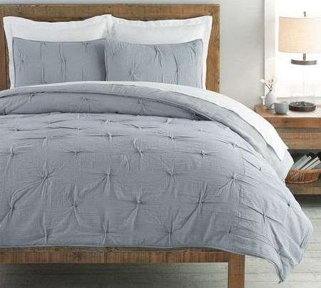 Soft Cotton Handcrafted Quilt & Shams - Blue