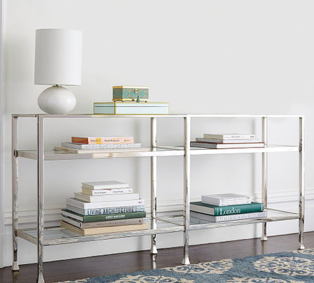 Tanner Long Console Table - Polished Nickel finish