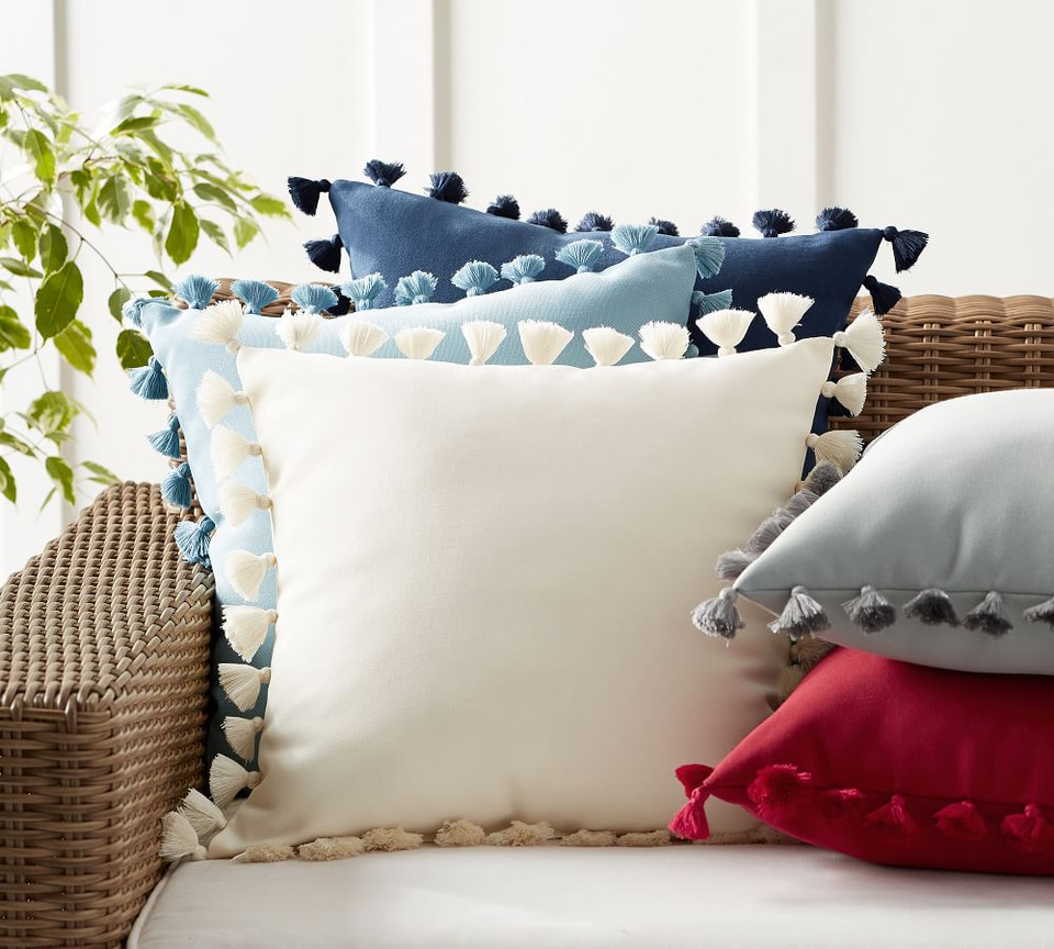 Tassel Trim Indoor/Outdoor Pillows