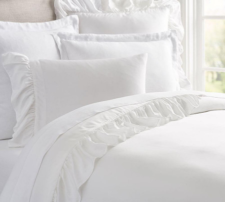 TENCEL™ Ruffle Duvet Cover & Shams - White