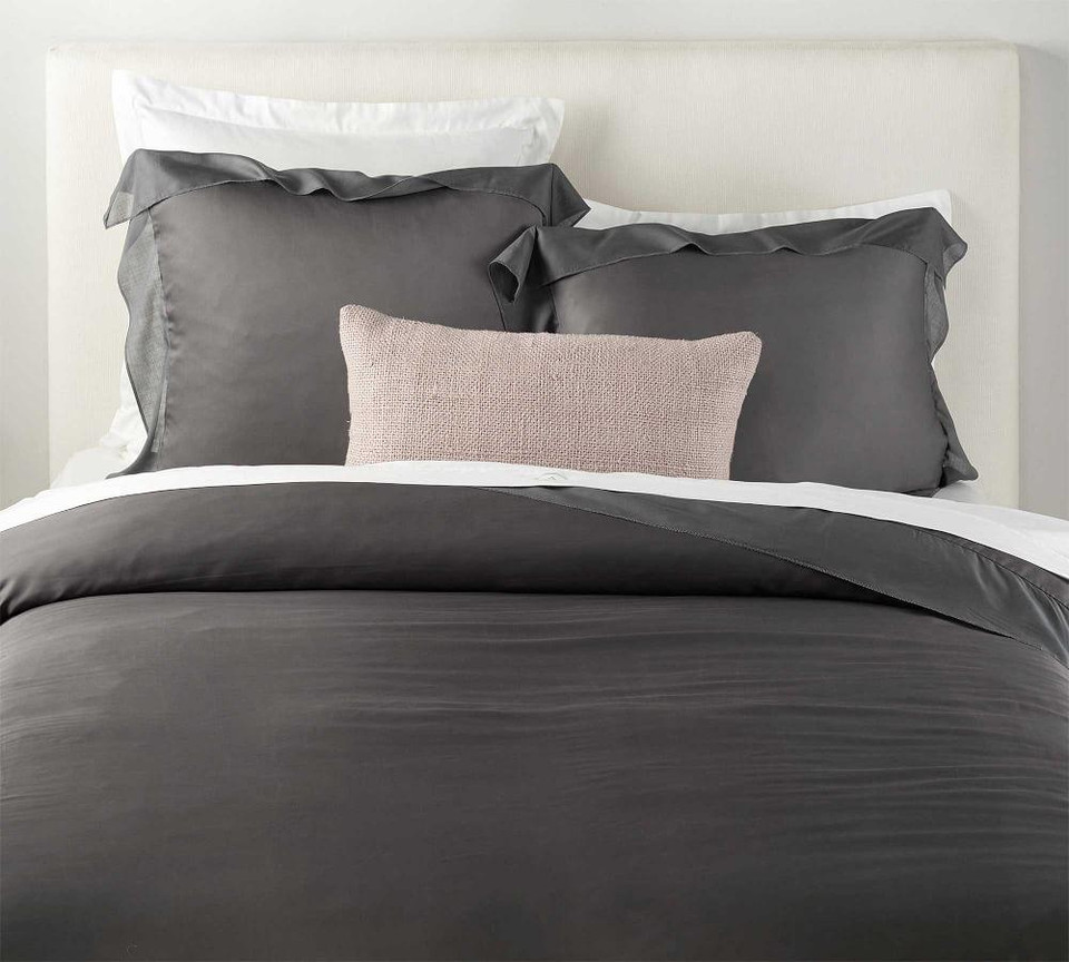 TENCEL™ Voile Flange Duvet Cover & Shams - Charcoal