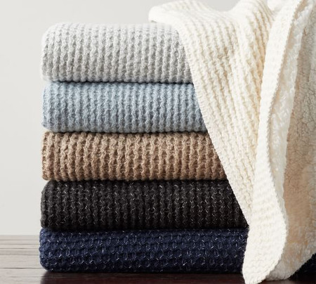 Thermal Knit Sherpa Back Throw