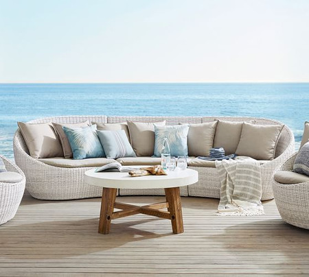 Torrey All-Weather Wicker Curved Sectional Set, White Wash