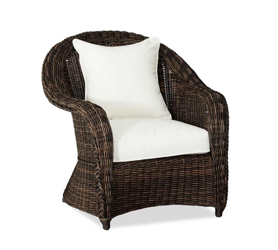 Torrey All-Weather Wicker Roll Arm Lounge Chair, Espresso